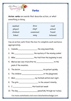 Grade 3 Grammar Topic Verbs Worksheets - Lets Share Knowledge Teaching English Grammar, English Worksheets For Kids, English Writing Skills, Grammar Lessons, English Lessons, Grammar Rules, Teaching Spanish, Worksheets For Grade 3, 2nd Grade Worksheets