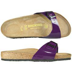 My purple Birkenstocks (aka my dancing shoes)! Birkenstocks, Clothes Line, My Favorite Color, Dance Shoes, Brand New, Sandals, Purple, Pretty, How To Wear