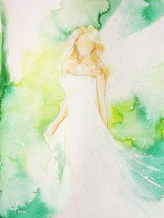 """Original Engelbild auf Aqurellpapier: """"Hoffnung"""" - von Henriette"""