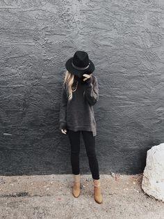 Sweater weather, boots, fall fashion, blonde hair, wavy hair, hair tuck, street style, womens fashion, hat hair.