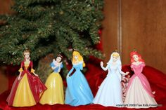 Set of 5 RARE Disney Princess Christmas Ornaments, Belle, Cinderella , Ariel, etc.