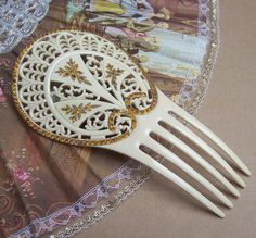 Vintage Art Nouveau hair comb - French ivory celluloid rhinestone