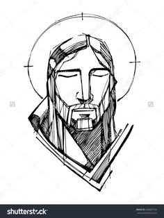 Hand Drawn Vector Illustration Or Drawing Of Jesus Christ Face - 406687726 : Shutterstock