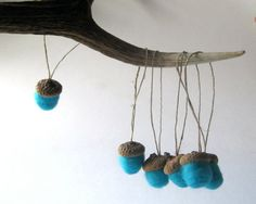 Giant Felted Wool Acorns Christmas Ornaments SET by SewnNatural