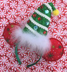 Christmas Holiday Santa hat Minnie ears by MerMadeCreationsCo on Etsy