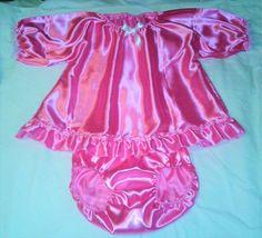 ADULT BABY SISSY PINK SATIN DRESS DIAPER PANTIES CROSSDRESSER COSPLAY ANIME | eBay