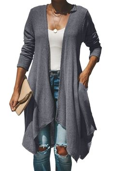 3f7b77546e Grey Handkerchief Hem Cardigan Cardigans Online