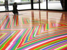 Jim Lambie Floor Color Stripes, Color Pop, Jim Lambie, Unique Tile, Geometry Pattern, Diy Flooring, Pattern Design, Vintage Rugs, Area Rugs