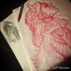 Red pencil sketch by Jeff Norton : Original Art Hair Tattoos, Sleeve Tattoos, Cool Tattoos, Gypsy Tattoos, Tatoos, Tattoo Sketches, Tattoo Drawings, Tattoo Art, Art Viking