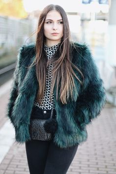 Jeany R. - Fluffy Teal Green Jacket
