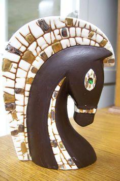 Vtg Retro Eames Era Mid Century Modern Relco Mosaic Horse Head Vase Planter   eBay