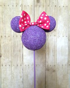 HEAD ONLY with bow. Custom Lavender Minnie Mouse children's birthday party centerpiece Topiary decoration Red or Pink
