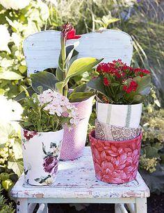 creatief met bloempotten, versierd met stofjes Fotografie: Rolinda Windhorst Styling: Stijlbloem