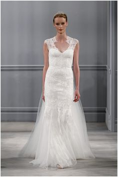 Monique Lhuillier lace wedding dress on French Wedding Style Blog