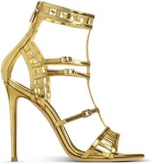 Gianvito Rossi mirrored gold patent leather sandal | SS2013