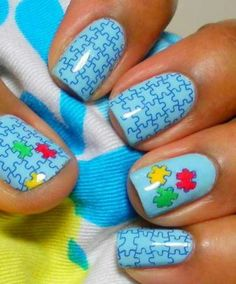Autism Awareness Puzzle nails for April 2014! I support and my nails do 2!
