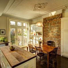 Dining Room With Brick Wall Design, Pictures, Remodel, Decor and Ideas - page 3