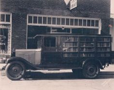 "1929 Library A classic bookmobile, or ""book truck,"" that served Davidson County, NC in the early days.  There's a great page documenting the history of the county's book trucks here."
