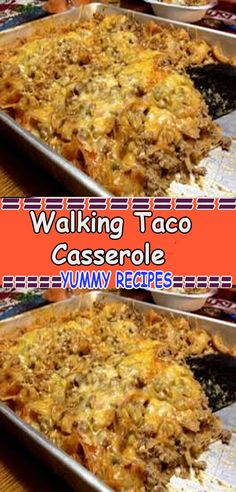 Walking Taco Casserole Information About Walking Taco A Taco Casserole, Easy Casserole Recipes, Casserole Dishes, Taco Bake, Healthy Chicken Recipes, Gourmet Recipes, Mexican Food Recipes, Dinner Recipes, Cooking Recipes