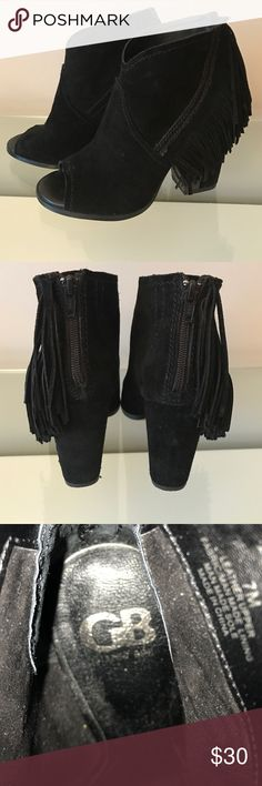Gianni Bini black suede fringed booties.  Size 7 These Gianni Bini boots are black suede with fringe. They zip up the back and have a peep toe. They are size 7. They have been worn twice and are in excellent condition. Gianni Bini Shoes Ankle Boots & Booties