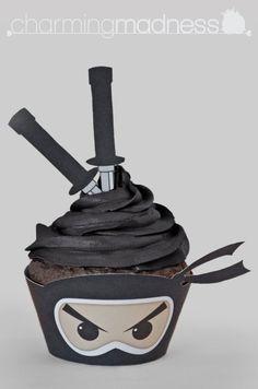 Kawaii Ninja Cupcake Wrappers & Toppers PDF by CharmingMadness | Etsy