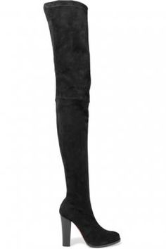 Christian Louboutin - Verusch 100 Suede Over-the-knee Boots - Black - IT Mens New Years Eve Outfit Thigh High Boots, High Heel Boots, Over The Knee Boots, Heeled Boots, Christian Louboutin Outlet, Designer High Heels, Boots For Sale, Fall Fashion Trends, Louboutin Shoes