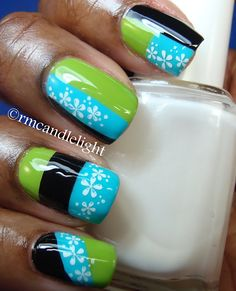 Blue, black & green  #nails #nail_art #nail_polish