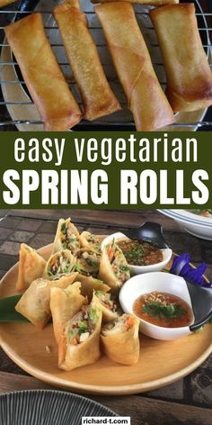 The great thing about Spring Rolls is that you can totally make your own vegetarian version! This recipe of mine for Thai Spring Rolls infuses bits of Thai flavor and veggie goodness. Guarantee it's worth it! Click to learn it. Homemade Spring Rolls, Thai Spring Rolls, Fried Spring Rolls, Vegetable Spring Rolls, Chinese Spring Rolls, Easy Spring Rolls, Healthy Spring Rolls, Vegetarian Spring Rolls, Vegetarian Recipes Easy