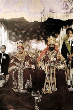 Emperor Haile Sellassie I's coronation photograph with Empress Menen the crown Prince Asfaw Wossen and Prince Makonnen, November 2nd 1930