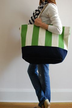 EXTRA Large Beach Bag  in Green and Cream Stripes http://www.discoverlakelanier.com