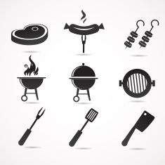 Barbecue icons isolated on white background. vector art illustration