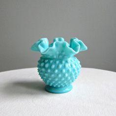 Fenton Turquoise Milk Glass Hobnail Vase