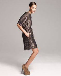 Belted Leopard-Jacquard Shift Dress by Lanvin at Neiman Marcus...another big animal print year coming