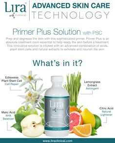 Looking for the most sophisticated primer on the market? Look no further! Lira Clinical's Primer Plus Solution not only thoroughly degreases and prepares skin for treatment application but, it's also infused with skin nourishing plant stem cells and an advanced blend and natural acids. Discover our Peel Technology Guide for an in-depth look at all Lira Clinical's advanced peels and solutions. http://issuu.com/lira-clinical/docs/peelguide-smallerres