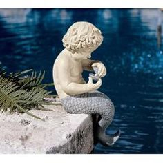 Classic Garden Decor – XoticBrands Home Decor Mermaid Boy, Male Mermaid, Angel Garden Statues, Garden Angels, Gothic Horror, Mermaid Sculpture, Mermaid Statue, Human Sculpture, Statue Art
