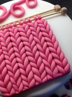 'Knitted' sugar paste / fondant! Knitting cake. Fondant knitting.