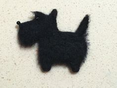 Needle Felted Dog - Scottie - Scottish Terrier - Brooch - Magnet - Black Dog - by Marina Lubomirsky by GoldenThreadDesign on Etsy