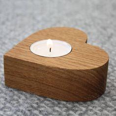 Oak Heart Tea Light Holder