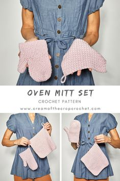 Crochet Flowers Patterns Crochet Patten - OVEN MITT SET: Oh boy! The busiest season has come! This pair of mittens would be the perfect last minute project for that special friend, don't you think? CLICK THE LINK NOW! Crochet Potholder Patterns, Crochet Mittens, Crochet Dishcloths, Mittens Pattern, Crochet Flower Patterns, Crochet Pattern, Crochet Ideas, Crocheting Patterns, Quick Crochet