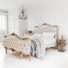 traditional-bedroom french parisian tufted bed diy diamond headboard all white h. - traditional-bedroom french parisian tufted bed diy diamond headboard all white hardwood floors gold - Tufted Bed, Upholstered Beds, White Hardwood Floors, Muebles Shabby Chic, Diy Bett, Diy Home Decor Rustic, Traditional Bedroom, Traditional Homes, Traditional Kitchens