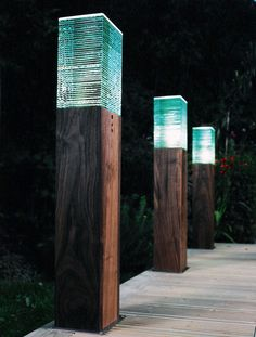 Large Wooden Bollard With Glass Layers Top