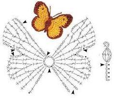 diseños y diagramas de mariposas tejidas a crochet - Buscar con Google