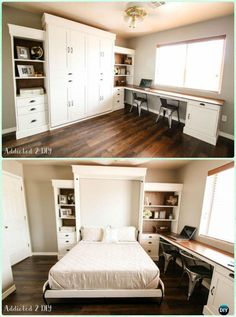 DIY Modern Farmhouse Murphy Bed Instructions – DIY Space Savvy Bed Frame Design Concepts Instructions Source by samanthaeathert Cama Murphy, Murphy Bed Desk, Murphy Bed Plans, Diy Murphy Bed, Murphy Bed Office, Murphy Bes, Office Bed, Queen Murphy Bed, Murphy Furniture