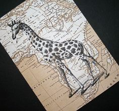 Get your safari on - Giraffe print on vintage style map of Africa, by CrowBiz