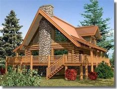 Beautiful chalet with a magnificent stone fireplace. Cabins In The Woods, House In The Woods, Future House, Log Cabin Homes, Cabins And Cottages, Wooden House, Prefab Homes, Stone Houses, Traditional House