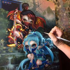 "Almost finished on my acrylic painting ""Ninja Dragonlings"" for the DragonCon Art Show! Details here - https://www.facebook.com/events/1880572162200821/ #strangeling #jasminebecketgriffith #art #artist #dragonconartshow #dragoncon #dragoncon2017 #dragonconartshow2017 #dragon #ninja #ninjagirl #ninjas #fairy #surreal #surrealism #painting #fantasyart #popsurrealism #newcontemporary #bigeyes #bigeyeart #dragonling #fairyart #newcontemporaryart #atlanta #bigeyedart"