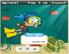 Another British site with phonics games (and the British accent!).  There are some good games for parts of speech as well.  This one is Deep Sea Phonics: start at http://www.bbc.co.uk/bitesize/ks1/literacy/