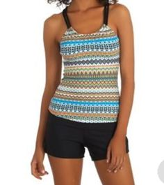fed82b2744342 Next by Athena Third Eye Pathway Shirred Tankini Top and Good Karma  Shorebreaker Swim Short