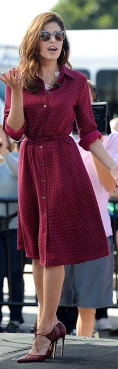 Who made  Eva Mendes' red button down dress and ankle strap pumps that she wore  in Universal City on September 25, 2013?