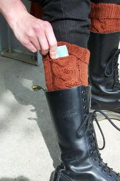 """Knit Subway Boot Socks w/ """"invisible"""" secret pocket that closes in the fold of the ribbing. Perfect for transit passes, lip balm or lunch money - pattern from MOIRA ENGEL . perfect for house socks too add padded sole! Crochet Boot Cuffs, Crochet Boots, Knit Boots, Knitting Socks, Knit Crochet, Knitting Projects, Knitting Patterns, Crochet Patterns, Hat Patterns"""